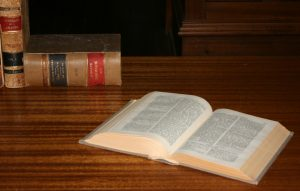 Open Law Books on Library Desk