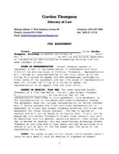 Model DUI Fee Agreement | Gordon Thompson - DUI Attorney Phoenix